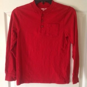 Red pullover tee with buttons Cherokee size Medium